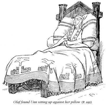 Olaf found Unn sitting up against her pillow (p. 192)--fr HeathenGodsDOTcom