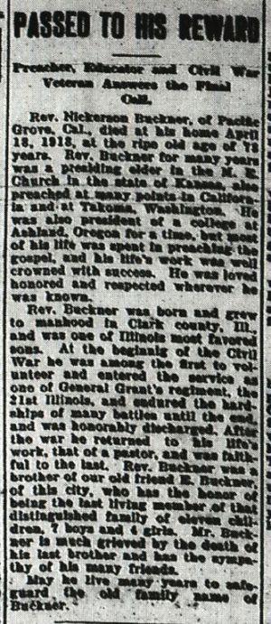 BUCKNER, Nixon S. (Obit.)_FAG, Momence Genealogy Corner